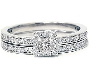 Diamond .65CT Engagement Matching Wedding Ring Set 14K White Gold Pave Halo