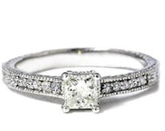 Princess Cut Diamond Engagement Ring 1/2CT Princess Cut Diamond Vintage Antique Style Engagement Ring 14K White Gold Hand Engraved