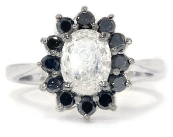 1.62CT Black & White Oval Diamond Halo Engagement Ring 14K White Gold Size (4-9)