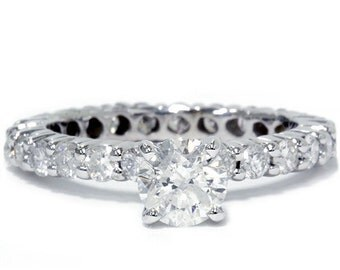 2.0CT Diamond Eternity Engagement 14K Ring White Gold (Sizes 4-9)