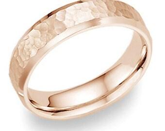 14K Mens 6mm Hammered Rose Gold Wedding Band