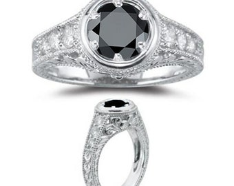 3/4CT Vintage Black Diamond Engagement Ring Antique Style 14K White Gold Size (4-10)