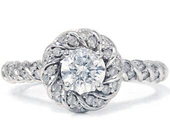 1.10CT Diamond Petite Engagement Ring 14K White Gold Size (4-10)