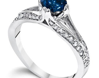 1.16CT Split Shank Blue Diamond Pave Engagement Ring (Sizes 4-9)