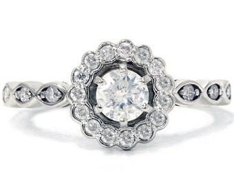 Petite .85CT Diamond Engagement Ring 14K White Gold Size (4-10)