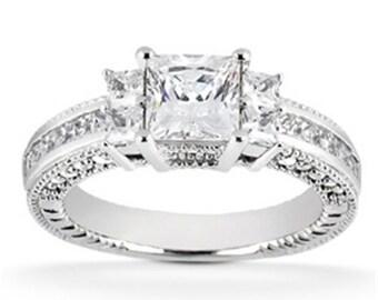 Princess Cut Diamond Engagement Ring, Vintage Princess Cut 1.00CT Heirloom Princess Cut Diamond Ring 14K White Gold