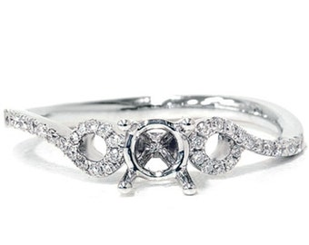 Diamond Engagement .15CT Semi Mount Setting 18k White Gold