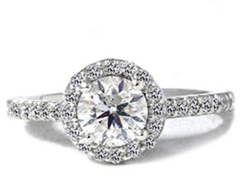 1.55CT SI Round Pave Halo Diamond Ring 14K White Gold