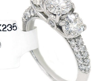 1.85CT Three Stone Diamond Ring 950 Platinum