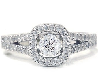 Pave .90ct Halo Diamond Engagement Ring 14K White Gold