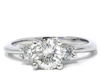 1.40CT 3 Stone Diamond Ring 14K White Gold