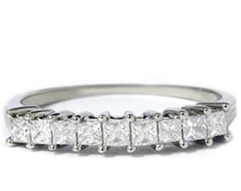 Princess Cut Diamond Anniversary Band 14K Gold .50CT, Princess Cut Diamond Ring, Anniversary Diamond Wedding Band, Princess Cut Diamond Ring
