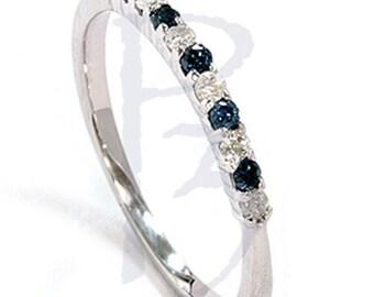 Blue & White .25CT Diamond Wedding Anniversary Ring 14K White Gold Prong Set