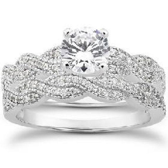 Diamond .95CT Vintage Antique Engagement Wedding Ring Matching Band Bridal Set 14K White Gold Set (Sizes 4-9)