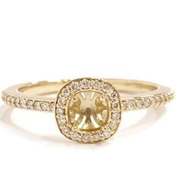 Petite Yellow Gold Halo Semi-Mount, Yellow Gold Engagement Ring Mounting, 14K Yellow Gold Semi-Mount, Vintage Halo Mounting