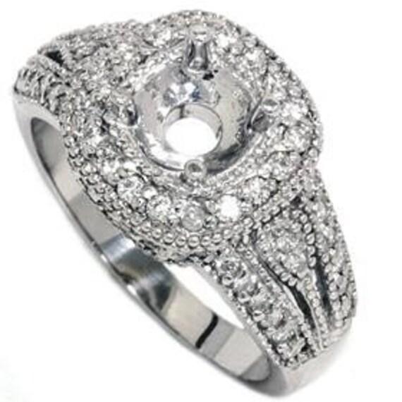 Vintage .62CT Diamond Engagement Ring Setting Antique 14K White Gold (sizes 4-10)