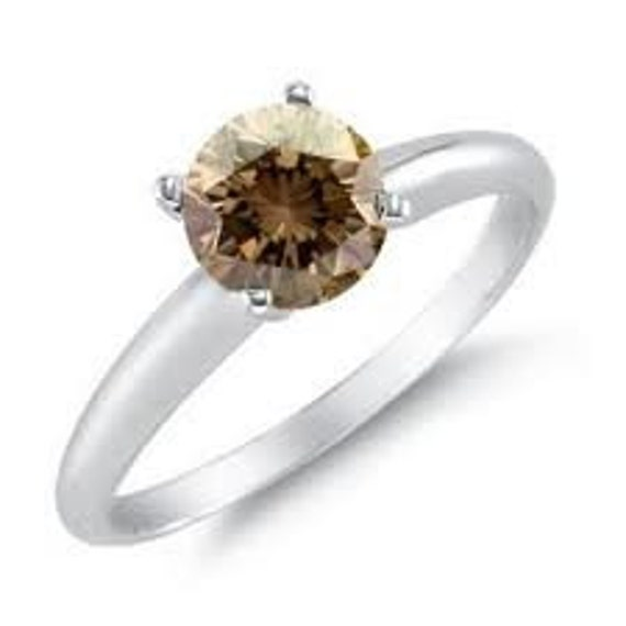 Champagne Solitaire .55CT Diamond Engagement Ring 14K White Sizes 4-9