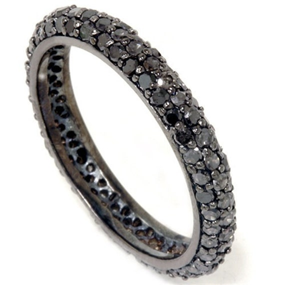 1.10CT Black Diamond Pave Eternity Ring 14K Black Gold Womens Anniversary Stackable Band (sizes 4-10)
