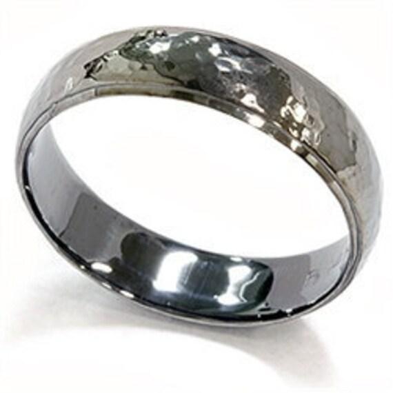 Mens 14K Black Gold 6MM Hammered Wedding Ring Band Size 7 12