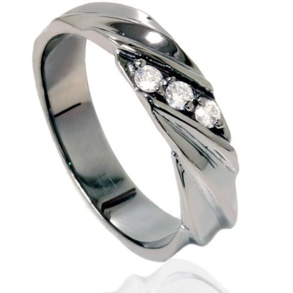 5ct diamond mens 14k black gold 3 stone wedding ring band size 7 12