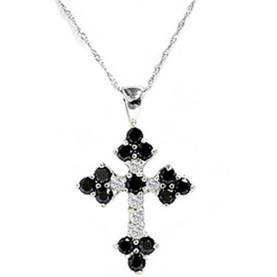Black Diamond Cross Pendant Necklace 14K