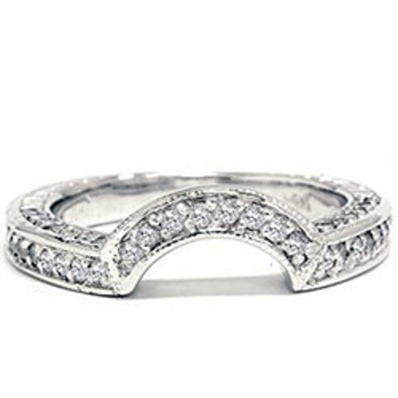 Vintage Diamond Wedding Ring Womens Bridal 3/4CT Anniversary Enhancer Curved Notched Guard Band 14K White Gold Size (4-10)