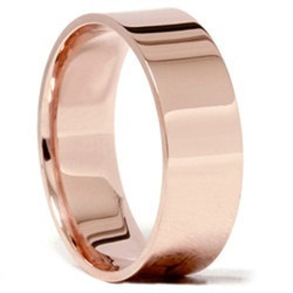 Rose Gold Wedding Band Womens 14K 7MM Flat High Polished Plain Anniversary Ring Size (4-10)