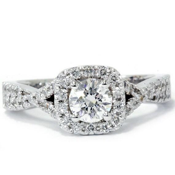Vintage Cushion Halo D VVS Round Brilliant Cut Antique Engagement Ring 14K White Gold 1.00CT Sizes (4-10)