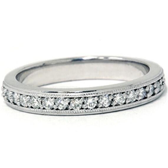Diamond Wedding Ring Band Milgrain 14K White Gold .35 CT Womens Diamond Ring, Wedding Ring, Engagement Ring, Diamond Ring