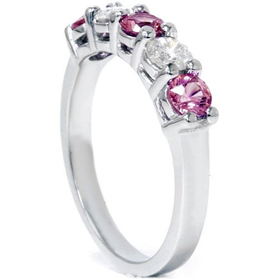 Pink Sapphire Five Diamond Wedding Anniversary Ring Alternating Stones 14K White Gold Size (4-10)