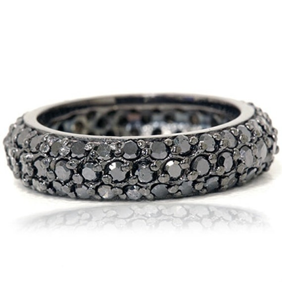pave black diamond eternity ring 14k black gold womens wedding. Black Bedroom Furniture Sets. Home Design Ideas