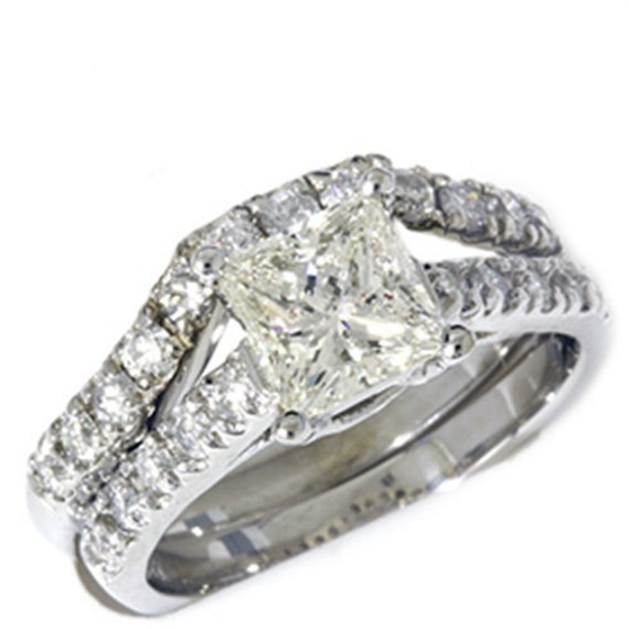 1.75CT 14K White Gold Diamond Princess Cut Wedding Set Engagement (Sizes 4-9)