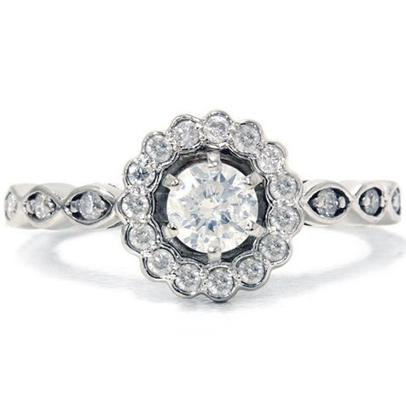Petite .85CT Diamond Engagement Ring 14K White Gold Size (4-10)