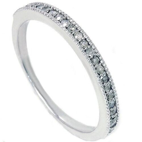 Diamond Wedding Ring Band Milgrain 14K White Gold 30 CT