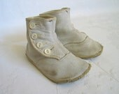 Victorian White Leather Button Baby Shoes