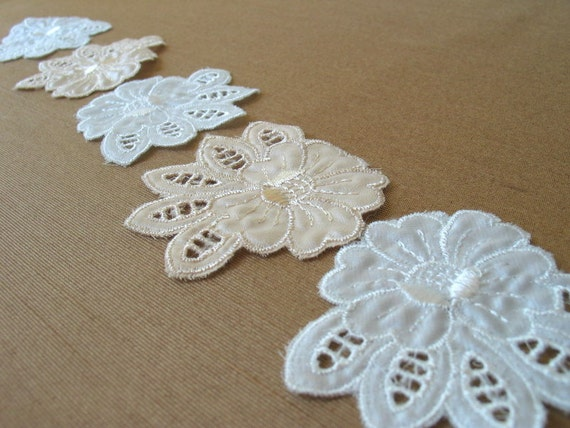 8 Embroidered Satin Rose Appliques
