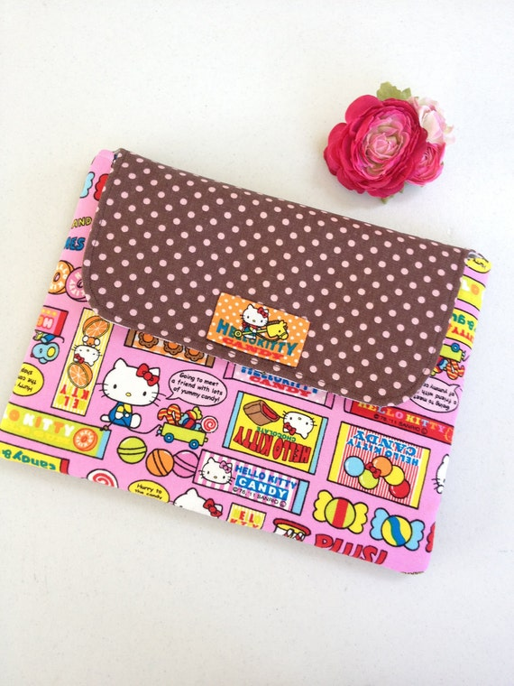 Cute Handmade iPad Sleeve / iPad Clutch / iPad cover / HP pouch with double pockets :  pink Sanrio Hello Kitty Candy canvas fabric