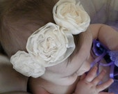 Celebration Chiffon Flower Headband in off white. Great for Baptisms, Weddings, Christenings