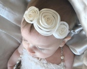 FREE SHIPPING --Organza Shimmer Rosette Headband in White. Great for Baptisms, Weddings, Christenings. Comes in all sizes.