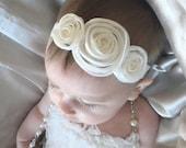 Ivory Organza Rosette Headband