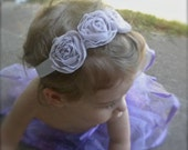 20% off entire store. Enter: SALE20 to redeem.  FREE SHIPPING--Silk Organza Rosette Headband in Lilac