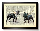 A Boston Terrier and French Bulldog, Home, Nursery, Office Decor, Wedding Gift, Eco Friendly Book Art, Vintage Dictionary Print, 8 x 10 in.
