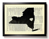 New York State Map, Home, Kitchen, Nursery, Bath, Office Decor, Wedding Gift, Eco Friendly Book Art, Vintage Dictionary Print 8 x 10 in.