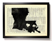 Louisiana State, Home, Kitchen, Nursery, Bathroom, Office Decor, Wedding Gift, Eco Friendly Book Art, Vintage Dictionary Print, 8 x 10 in.