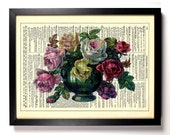 Gorgeous Roses In A Vase, Home, Kitchen, Nursery, Office Decor, Wedding Gift, Eco Friendly Book Art, Vintage Dictionary Print 8 x 10 in.