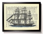 Sail Boat, Ocean, Home, Kitchen, Nursery, Bathroom, Office Decor, Wedding Gift, Eco Friendly Book Art, Vintage Dictionary Print, 8 x 10 in.