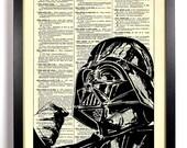 Star Wars Darth Vader, Home, Kitchen, Nursery, Bath, Office Decor, Wedding Gift, Eco Friendly Book Art, Vintage Dictionary Print 8 x 10 in.