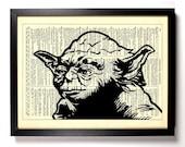 Star Wars Master Yoda, Home, Kitchen, Nursery, Bath, Office Decor, Wedding Gift, Eco Friendly Book Art, Vintage Dictionary Print 8 x 10 in.