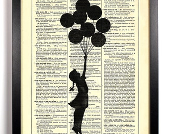 Banksy Up And Away, Home, Kitchen, Nursery, Bathroom, Office Decor, Wedding Gift, Eco Friendly Book Art, Vintage Dictionary Print 8 x 10 in.