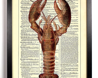 Grand Lobster, Home, Kitchen, Nursery, Bathroom, Office Decor, Wedding Gift, Eco Friendly Book Art, Vintage Dictionary Print, 8 x 10 in.
